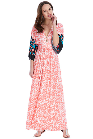 Wholesale Kimono Sleeved Multi Print Maxi Dress