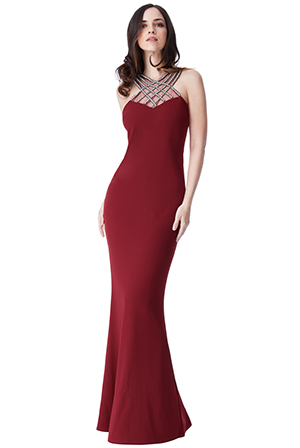 Wholesale-Criss-Cross-Embellished-Neckline-Maxi-Dress