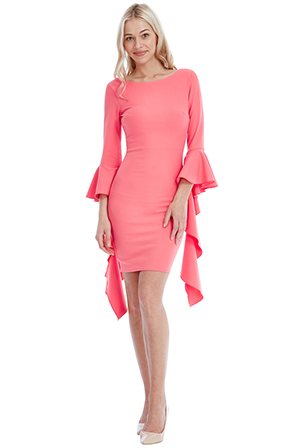 Wholesale Fitted Midi Dress with Waterfall Sleeves