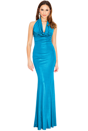 Wholesale Cowl neck metallic evening maxi dress in the style of Selena Gomez