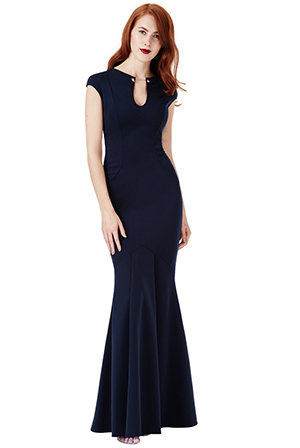 Wholesale-Keyhole-Fishtail-Maxi-Dress-with-Metal-Bar-Detail