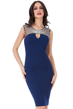 Wholesale Embellished Neckline Fitted Midi Dress