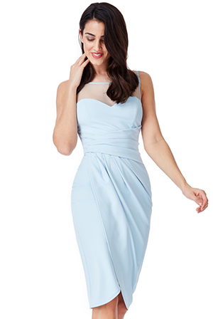 Wholesale Side Pleated Midi Dress with Split Detail