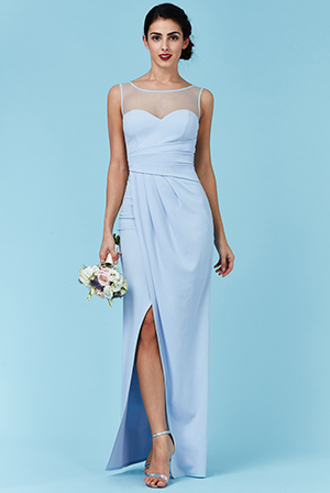 Wholesale Side Pleated Maxi Dress with Split Detail