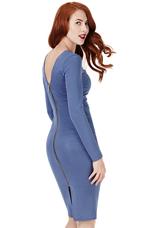 Wholesale Long Sleeved Fitted Midi Dress with Zip Detail