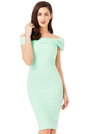 Wholesale Bardot Midi Dress with Bow Detail