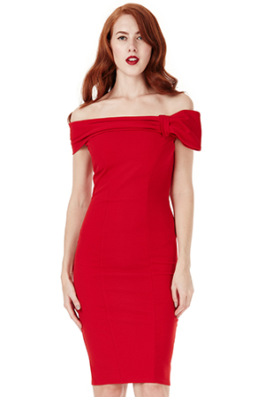 Wholesale-Bardot-Midi-Dress-with-Bow-Detail