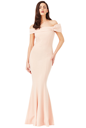 Wholesale Bardot Fishtail Maxi Dress with Bow Detail
