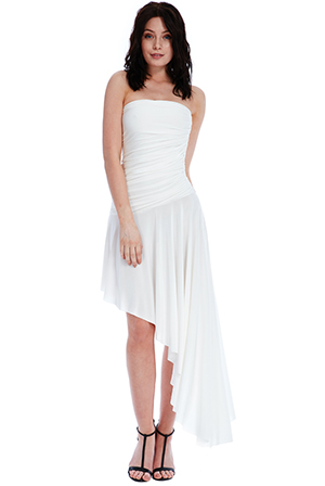 Wholesale-Strapless-Asymmetric-Ruched-Maxi-Dress