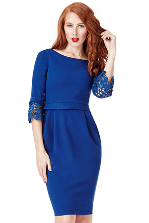 Wholesale Tulip Midi Dress with Lace Sleeves