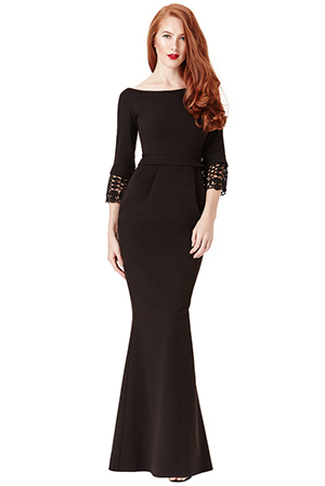 Wholesale Tulip Maxi Dress with Lace Sleeves