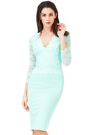 Wholesale-V-Neck-Lace-Overlay-Midi-Dress