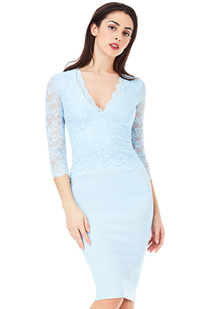 Wholesale V Neck Lace Overlay Midi Dress