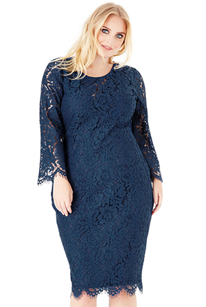 Wholesale-Plus-Size-Lace-Midi-Dress