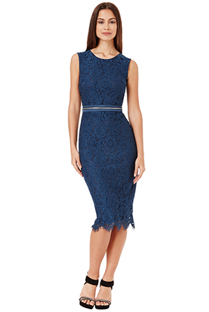 Wholesale Lace Midi Dress with Zip Detail