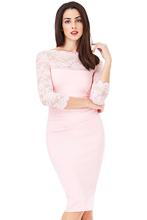 Wholesale-Fitted-Midi-Dress-with-Scalloped-Lace-Neckline_2