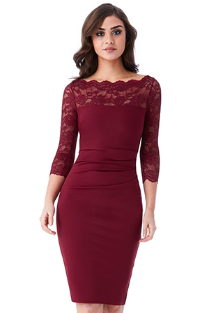 Wholesale-Fitted-Midi-Dress-with-Scalloped-Lace-Neckline_3