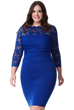 Wholesale Plus Size Midi Dress with Lace Neckline