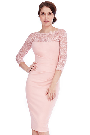 Wholesale-Fitted-Midi-Dress-with-Scalloped-Lace-Neckline