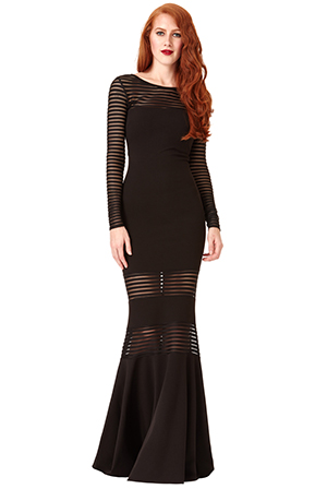Wholesale Long Sleeved Fishtail Maxi Dress with Stripes