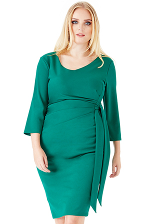 Wholesale-Plus-Size-Pleated-Midi-Dress-with-Tie-Detail