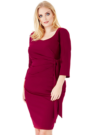 Wholesale Plus Size Pleated Midi Dress with Tie Detail