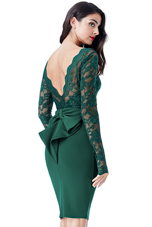 Wholesale-Open-Back-Lace-Midi-Dress-with-Bow-Detail