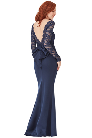 Wholesale-Petite-Open-Back-Lace-Maxi-Dress-with-Bow-Detail