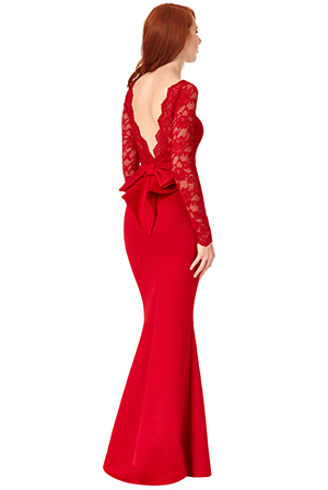 Wholesale-Open-Back-Lace-Maxi-Dress-with-Bow-Detail