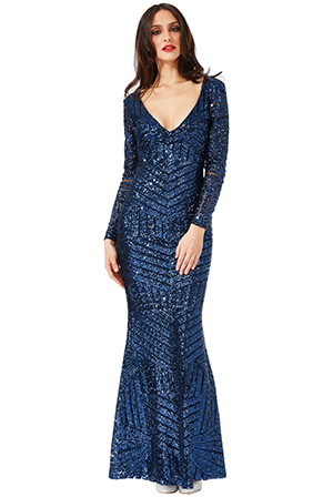 Wholesale-Long-Sleeved-Open-Back-Sequin-Maxi-Dress