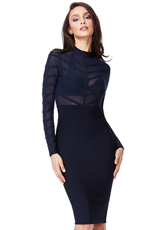 Wholesale-Long-Sleeved-Striped-Mesh-Bodycon-Dress