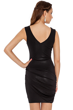 Wholesale Metallic wrap sleeveless jersey dress