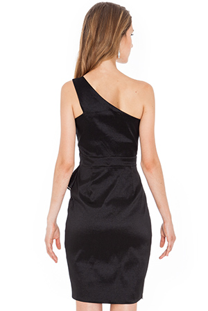 Wholesale One shoulder black evening dress