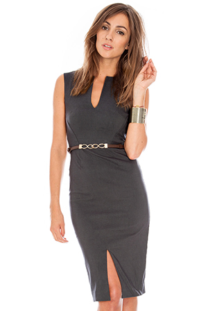 Wholesale Belted sleeveless split front dress