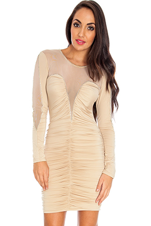 Wholesale Mesh and diamante detail ruched mini dress