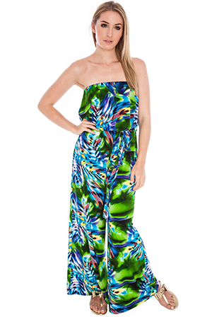 Wholesale Strapless Abstract print Jumpsuit