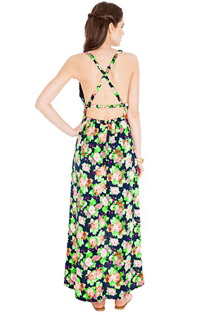 Wholesale Floral jersey cross back maxi