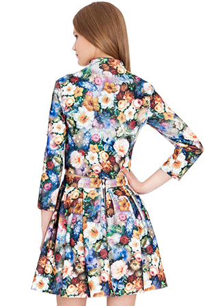 Wholesale Floral Print Stretch Jacquard Cropped Jacket