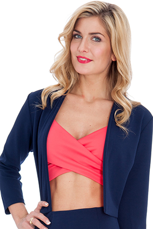 Wholesale Scuba Cropped Quarter Sleeve Jacket with Contrasting Lining