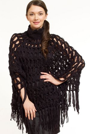 Chunky-Knit-High-Neck-Poncho-Cape-Coat