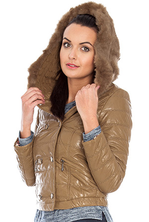 Wholesale Fur hooded cropped puffer jacket