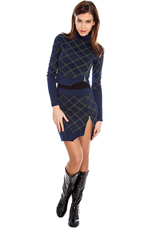 Wholesale Asymmetric hem tartan high split mini skirt
