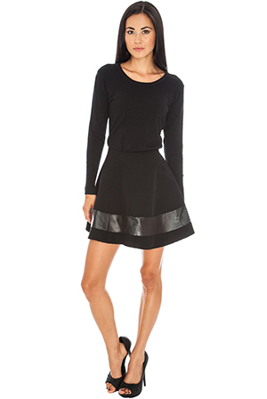 Wholesale Perforated PU insert skater skirt