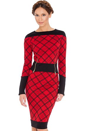 Wholesale Tartan print pencil skirt