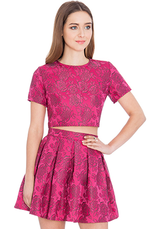 Wholesale Floral Jacquard Full Mini Skirt