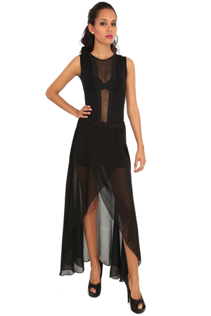 Wholesale Sheer Drape Maxi Wrap Skirt