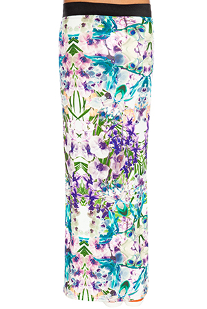 Wholesale Orchid print shuffle maxi skirt