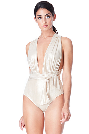 Wholesale Multi Tie Deep V Swimsuit