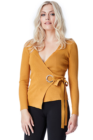 Wholesale V Neck Ribbed Jumper with Tie Detail