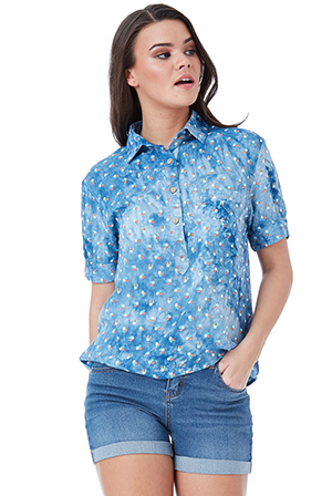 Wholesale-Floral-Print-Popover-Shirt-with-Pocket